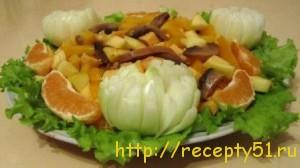Салат грибной с апельсинами
