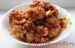 Цветная капуста, маринованная в томатном соке