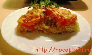 Рыба, запеченная с рисом и помидорами