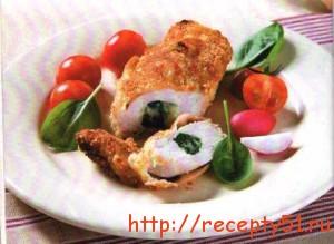 Куриные грудки, фаршированные шпинатом и моцареллой