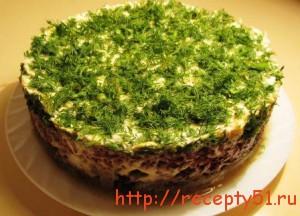 Салат из печени с рисом